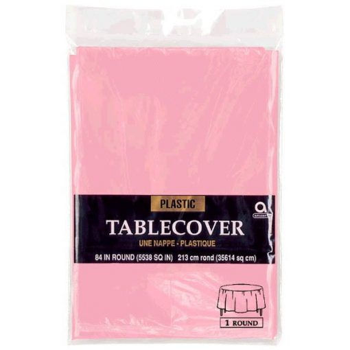 Plastic Round Tablecover Baby Pink
