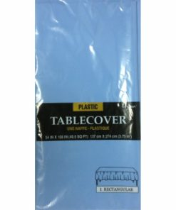 Plastic Rectangular Tablecover Pastel Blue