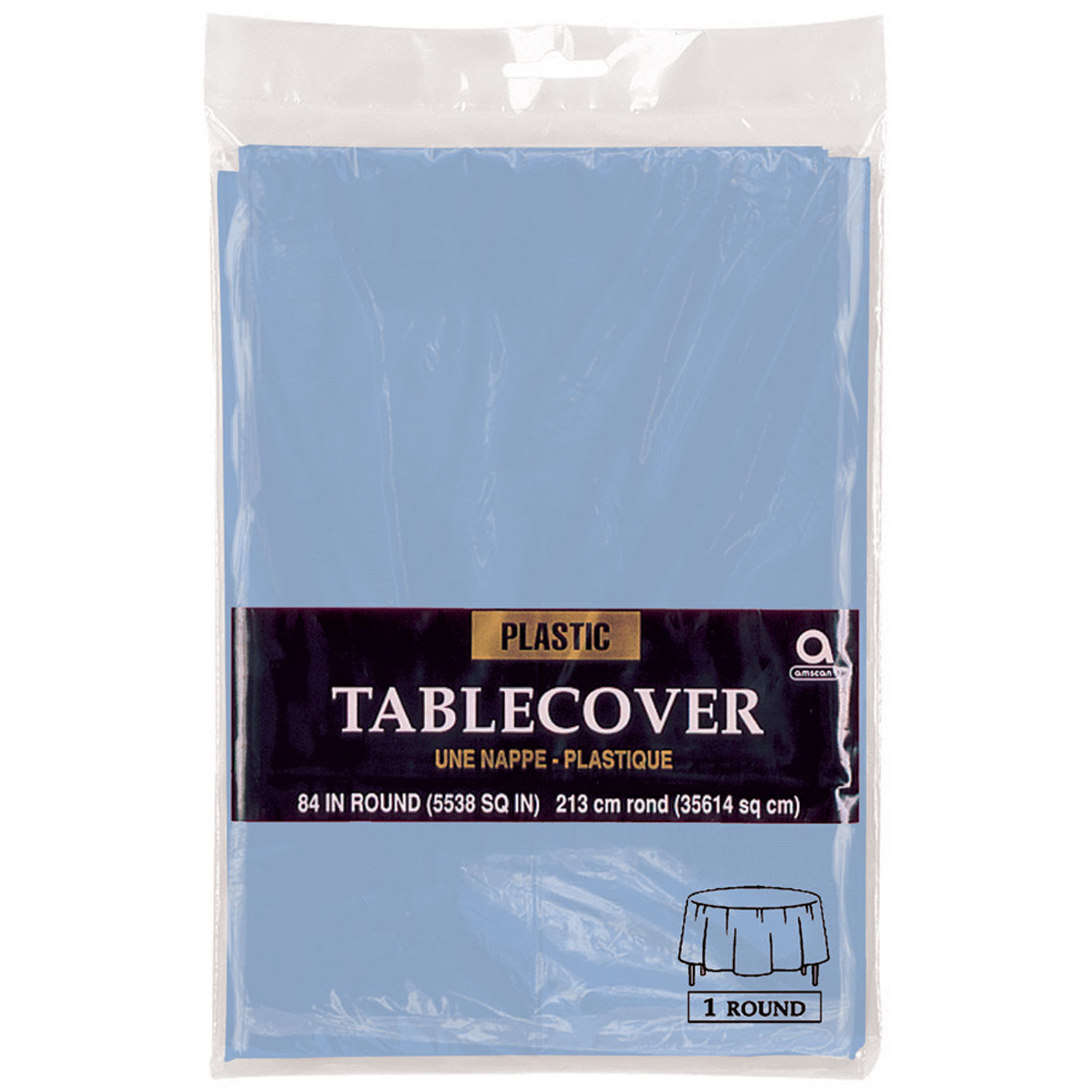 Plastic Round Tablecover Pastel Blue