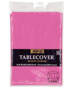Plastic Round Tablecover Bright Pink