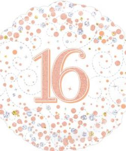 18″ 16th Sparkling Fizz White/Rose Gold Foil