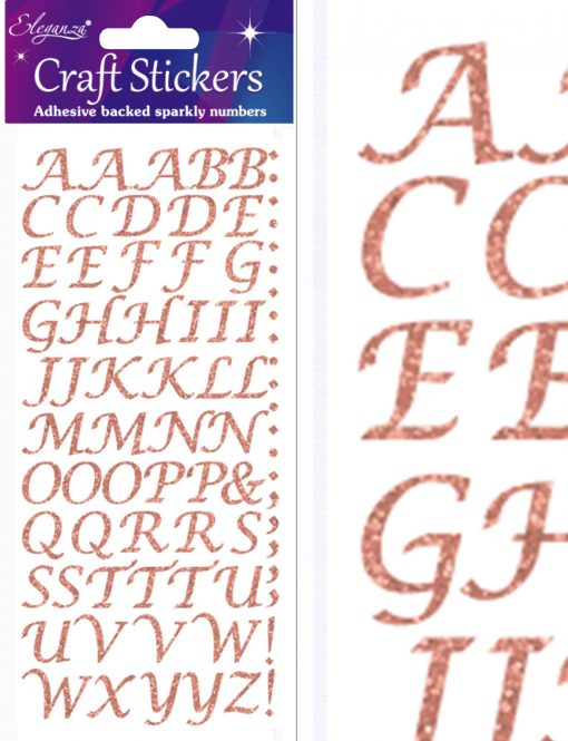 Eleganza Craft Stickers Stylised Alphabet Set Rose Gold No.87