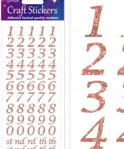 Eleganza Craft Stickers Stylised Number Set Rose Gold No.87