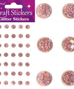 Eleganza Craft Stickers 8mm 35 Glitter gems Rose Gold No.87