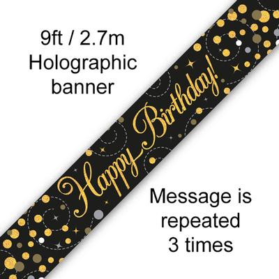 Sparkling Fizz Happy Birthday Black & Gold Holographic