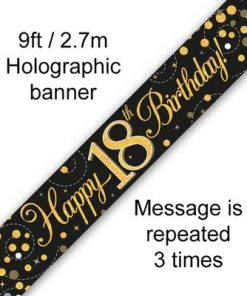 Sparkling Fizz 18th Birthday Black & Gold Holographic