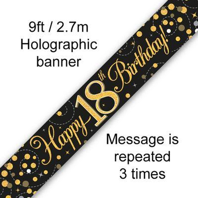Sparkling Fizz 18th Birthday Black & Gold Holographic