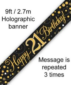 Sparkling Fizz 21st Birthday Black & Gold Holographic