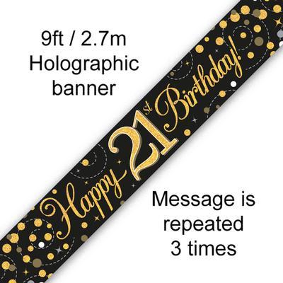 Sparkling Fizz 21st Birthday Black & Gold Holographic