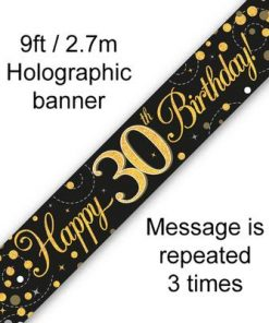 Sparkling Fizz 30th Birthday Black & Gold Holographic