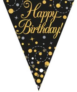 Party Bunting Sparkling Fizz Birthday Black & Gold Holographic