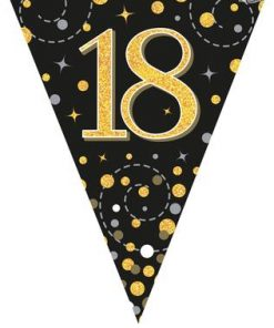 Party Bunting Sparkling Fizz 18 Birthday Black & Gold Holographic