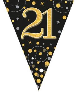 Party Bunting Sparkling Fizz 21 Black & Gold Holographic