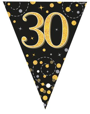 Party Bunting Sparkling Fizz 30 Black & Gold Holographic
