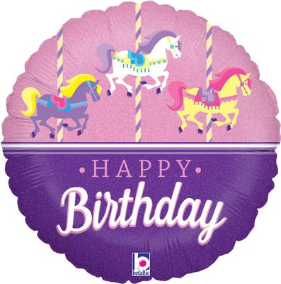 """18"""" Carousel Birthday Holographic Foil"""