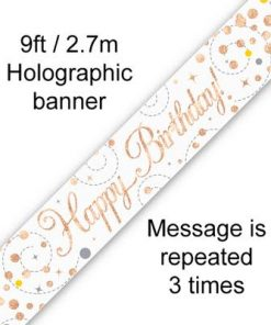 Sparkling Fizz Birthday White & Rose Gold Holographic Banner