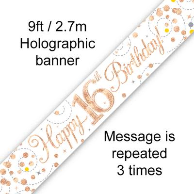 Sparkling Fizz 16th Birthday White & Rose Gold Holographic Banner
