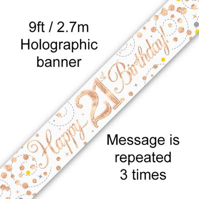 Sparkling Fizz 21st Birthday White & Rose Gold Holographic Banner