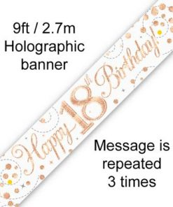 Sparkling Fizz 18th Birthday White & Rose Gold Banner