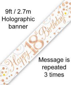 Sparkling Fizz 18th Birthday White & Rose Gold Banner