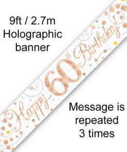 Sparkling Fizz 60th Birthday White & Rose Gold Banner