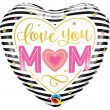 "18"" Love You Mum Stripes Foil"