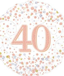 40th Sparkling Fizz Birthday White and Rose Gold Holographic