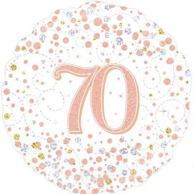 70th Sparkling Fizz Birthday White and Rose Gold Holographic