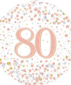 80th Sparkling Fizz Birthday White and Rose Gold Holographic