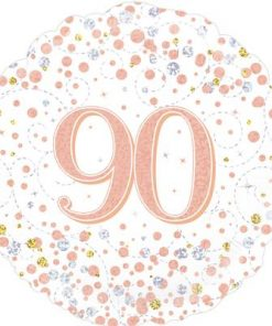 90th Sparkling Fizz Birthday White and Rose Gold Holographic