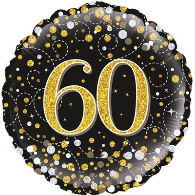60th Sparkling Fizz Birthday Black and Gold Holographic