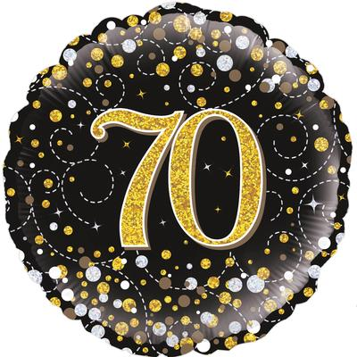 70th Sparkling Fizz Birthday Black and Gold Holographic