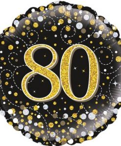 80th Sparkling Fizz Birthday Black and Gold Holographic