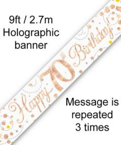 Banner Sparking Fizz 70th Birthday White & Rose Gold