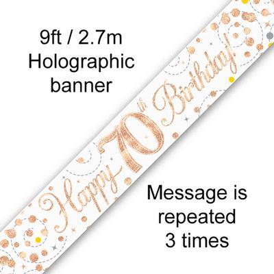 Banner Sparking Fizz 70th Birthday White & Rose Gold