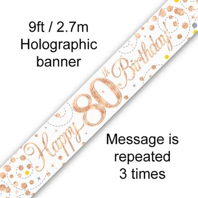 Banner Sparking Fizz 80th Birthday White & Rose Gold