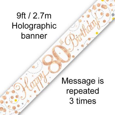 Banner Sparking Fizz 80th Birthday White & Rose Gold