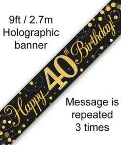 Sparkling Fizz 40th Birthday Black and Gold