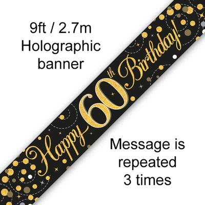 Sparkling Fizz 60th Birthday Black and Gold Banner