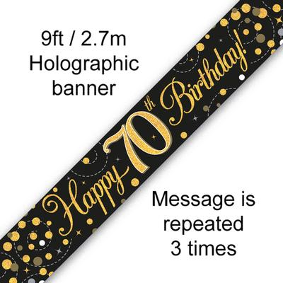 Sparkling Fizz 70th Birthday Black and Gold