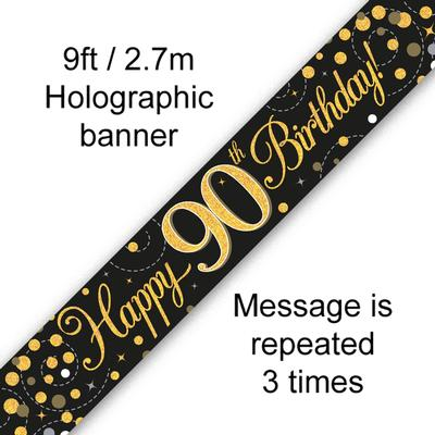 Sparkling Fizz 90th Birthday Black and Gold