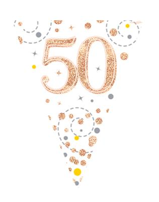 Sparkling Fizz 50 White Rose Gold Holographic Flag