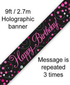 Banner Sparkling Fizz Birthday Black & Pink