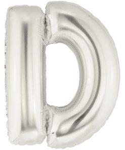 """Megaloon 40"""" Letter D Silver"""