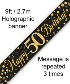 Sparkling Fizz 50th Birthday Black & Gold Banner