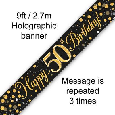 Sparkling Fizz 50th Birthday Black & Gold Banner