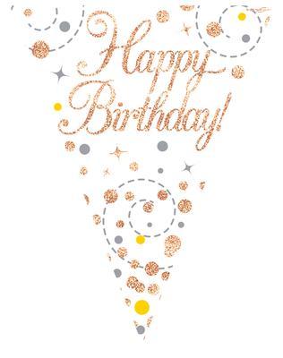 Sparkling Fizz Happy Birthday White Rose Gold Holographic Flag