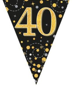 Party Bunting Sparkling Fizz 40 Black & Gold Holographic