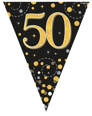 Party Bunting Sparkling Fizz 50 Black & Gold Holographic