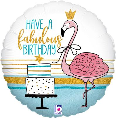 Fabulous Flamingo Birthday Holographic Foil